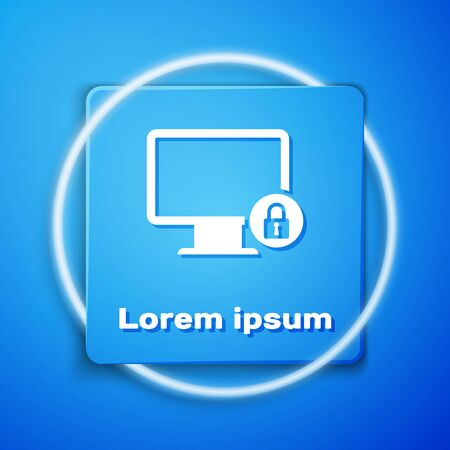 White Lock on computer monitor screen icon isolated on blue background. Monitor and padlock. Security, safety, protection concept. Safe internetwork. Blue square button. Vector Illustration Çizim