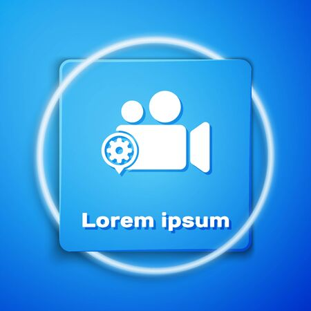 White Movie or Video camera and gear icon isolated on blue background. Adjusting app, service concept, setting options, maintenance, repair, fixing. Blue square button. Vector Illustration