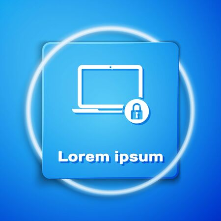 White Laptop and lock icon isolated on blue background. Computer and padlock. Security, safety, protection concept. Safe internetwork. Blue square button. Vector Illustration