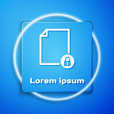 White Document and lock icon isolated on blue background. File format and padlock. Security, safety, protection concept. Blue square button. Vector Illustration