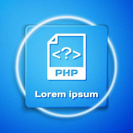 White PHP file document. Download php button icon isolated on blue background. PHP file symbol. Blue square button. Vector Illustration Ilustrace