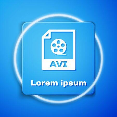 White AVI file document. Download avi button icon isolated on blue background. AVI file symbol. Blue square button. Vector Illustration