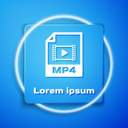 White MP4 file document. Download mp4 button icon isolated on blue background. MP4 file symbol. Blue square button. Vector Illustration Illustration