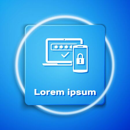 White Multi factor, two steps authentication icon isolated on blue background. Blue square button. Vector Illustration Ilustração