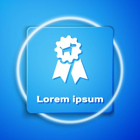 White Dog award symbol icon isolated on blue background. Medal with dog footprint as pets exhibition winner concept. Blue square button. Vector Illustration 일러스트