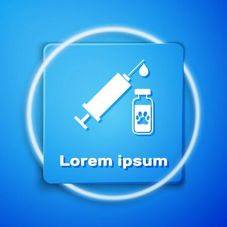 White Syringe with pet vaccine icon isolated on blue background. Dog or cat paw print. Blue square button. Vector Illustration