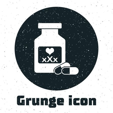 Grunge Medicine bottle with pills for potency, aphrodisiac icon isolated on white background. Sex pills for men and women. Vector Illustration