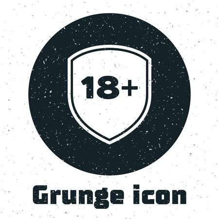 Grunge Shield with inscription 18 plus icon isolated on white background. Adults content only. Protection, safety, security, protect concept. Vector Illustration