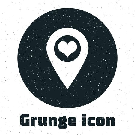 Grunge Map pointer with heart icon isolated on white background. Vector Illustration Stok Fotoğraf - 130067649
