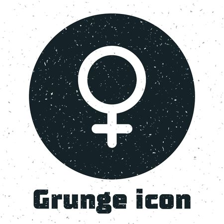 Grunge Female gender symbol icon isolated on white background. Venus symbol. The symbol for a female organism or woman. Vector Illustration Illustration