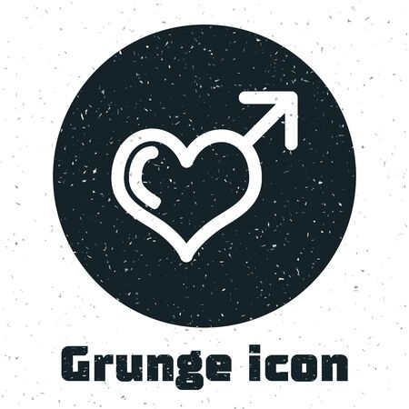 Grunge Male gender symbol and heart icon isolated on white background. Vector Illustration Illustration