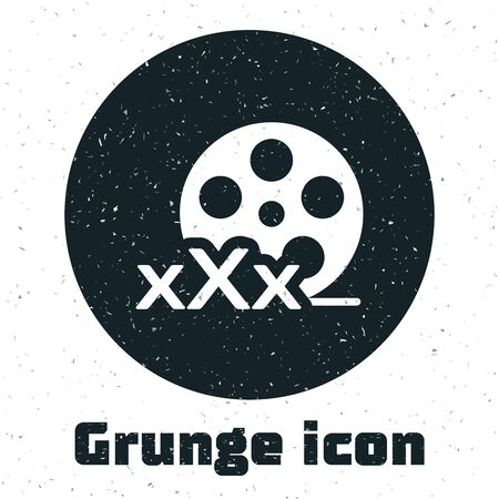 Grunge Film reel with inscription XXX icon isolated on white background. Age restriction symbol. 18 plus content sign. Adult channel. Vector Illustration