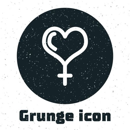 Grunge Female gender symbol and heart icon isolated on white background. Venus symbol. The symbol for a female organism or woman. Vector Illustration