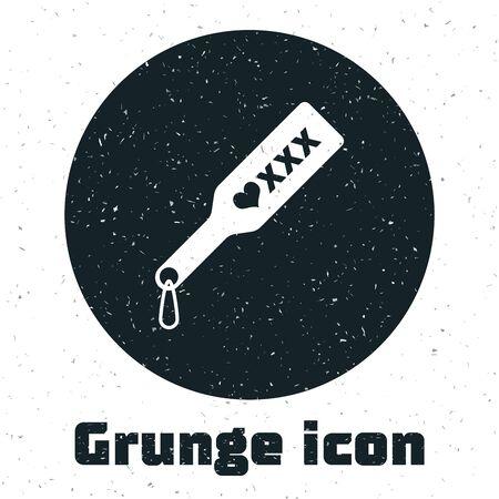 Grunge Spanking paddle icon isolated on white background. Fetish accessory. Sex toy for adult. Vector Illustration