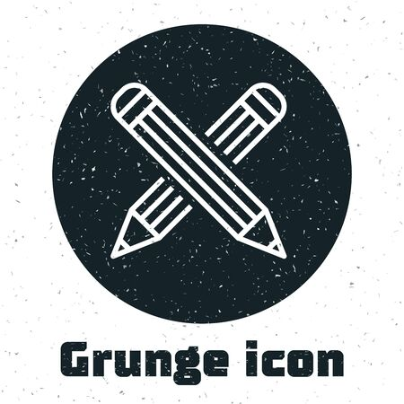 Grunge Crossed pencil icon isolated on white background. Education sign. Drawing and educational tools. School office symbol. Vector Illustration