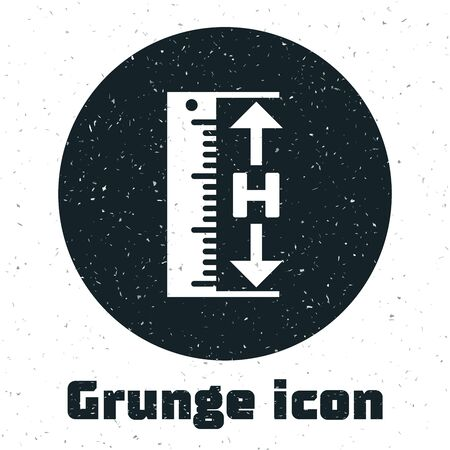 Grunge The measuring height and length icon isolated on white background. Ruler, straightedge, scale symbol. Vector Illustration Ilustracja