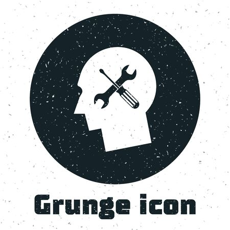 Grunge Human head with with screwdriver and wrench icon isolated on white background. Artificial intelligence. Symbol work of brain. Vector Illustration Illusztráció