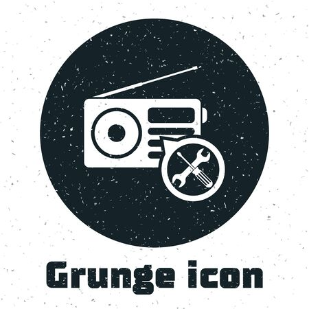 Grunge Radio with screwdriver and wrench icon isolated on white background. Adjusting, service, setting, maintenance, repair, fixing. Vector Illustration Stock Illustratie