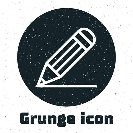 Grunge Pencil and line icon isolated on white background. Education sign. Drawing and educational tools. School office symbol. Vector Illustration Ilustração