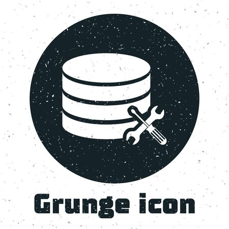 Grunge Database server with screwdriver and wrench icon isolated on white background. Adjusting, service, setting, maintenance, repair, fixing. Vector Illustration Иллюстрация
