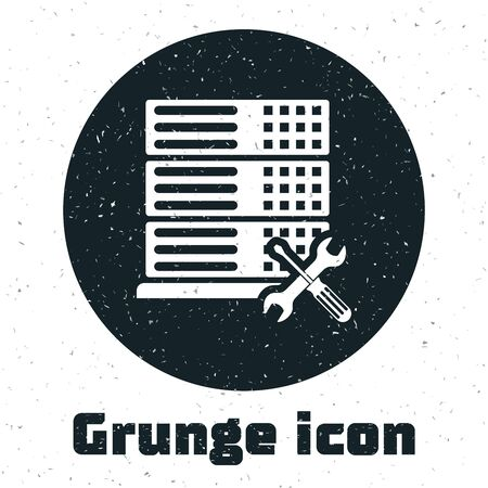 Grunge Database server with screwdriver and wrench icon isolated on white background. Adjusting, service, setting, maintenance, repair, fixing. Vector Illustration Illustration