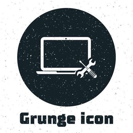 Grunge Laptop with screwdriver and wrench icon isolated on white background. Adjusting, service, setting, maintenance, repair, fixing. Vector Illustration Ilustração