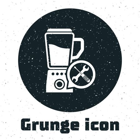 Grunge Blender with screwdriver and wrench icon isolated on white background. Adjusting, service, setting, maintenance, repair, fixing. Vector Illustration