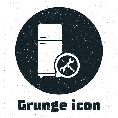 Grunge Refrigerator with screwdriver and wrench icon isolated on white background. Adjusting, service, setting, maintenance, repair, fixing. Vector Illustration Иллюстрация