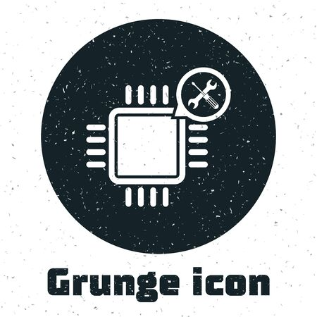 Grunge Processor with screwdriver and wrench icon isolated on white background. Adjusting, service, setting, maintenance, repair, fixing. Vector Illustration 일러스트
