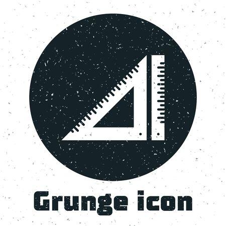 Grunge Triangular ruler icon isolated on white background. Straightedge symbol. Geometric symbol. Vector Illustration