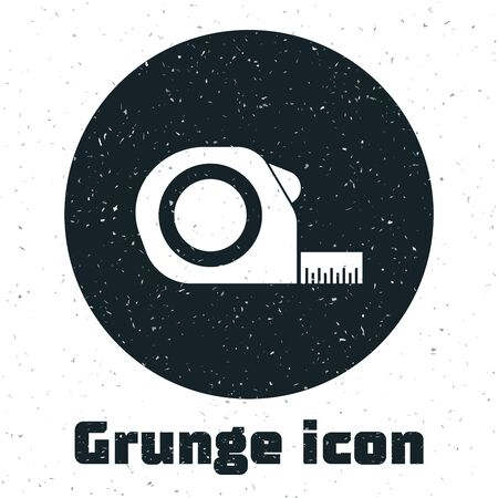 Grunge Roulette construction icon isolated on white background. Tape measure symbol. Vector Illustration Stock Illustratie