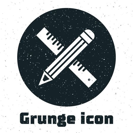 Grunge Crossed ruler and pencil icon isolated on white background. Straightedge symbol. Drawing and educational tools. Vector Illustration