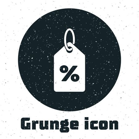 Grunge Discount percent tag icon isolated on white background. Shopping tag sign. Special offer sign. Discount coupons symbol. Vector Illustration Illusztráció