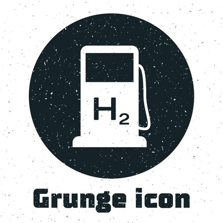 Grunge Hydrogen filling station icon isolated on white background. H2 station sign. Vector Illustration