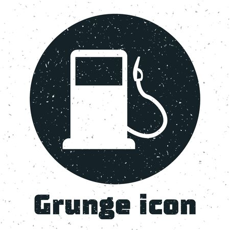 Grunge Petrol or Gas station icon isolated on white background. Car fuel symbol. Gasoline pump. Vector Illustration