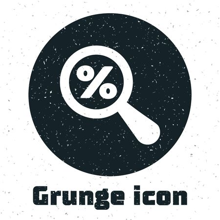 Grunge Magnifying glass with percent discount icon isolated on white background. Discount offers searching. Search for discount sale sign. Vector Illustration