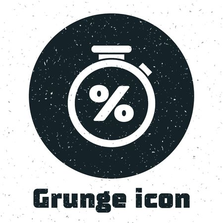 Grunge Stopwatch and percent discount icon isolated on white background. Time timer sign. Vector Illustration