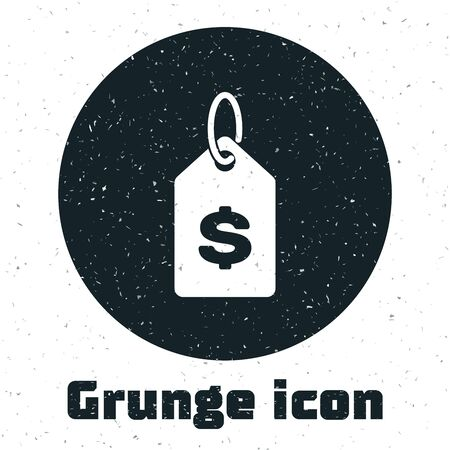 Grunge Price tag with dollar icon isolated on white background. Badge for price. Sale with dollar symbol. Promo tag discount. Vector Illustration
