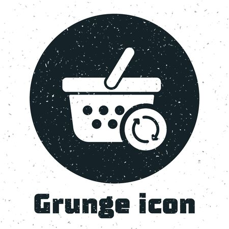 Grunge Refresh shopping basket icon isolated on white background. Online buying concept. Delivery service sign. Update supermarket basket. Vector Illustration