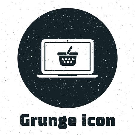 Grunge Shopping basket on screen laptop icon isolated on white background. Concept e-commerce, e-business, online business marketing. Vector Illustration