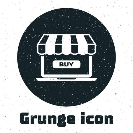 Grunge Online shopping concept. Buy on screen laptop icon isolated on white background. Concept e-commerce, online business marketing. Vector Illustration