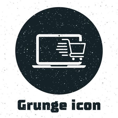 Grunge Shopping cart on screen laptop icon isolated on white background. Concept e-commerce, e-business, online business marketing. Vector Illustration