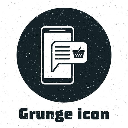 Grunge Mobile phone and shopping basket icon isolated on white background. Online buying symbol. Supermarket basket symbol. Vector Illustration