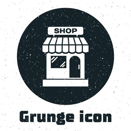 Grunge Shopping building or market store icon isolated on white background. Shop construction. Vector Illustration
