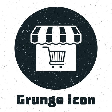 Grunge Shopping building or market store with shopping cart icon isolated on white background. Shop construction. Supermarket basket symbol. Vector Illustration