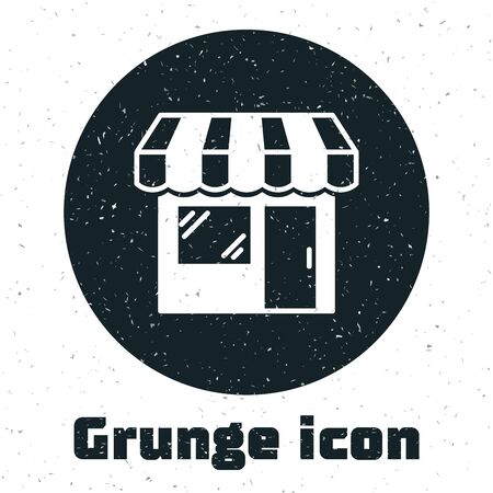 Grunge Shopping building or market store icon isolated on white background. Shop construction. Vector Illustration Stock Vector - 130090136