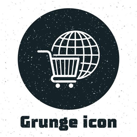 Grunge Shopping cart with globe icon isolated on white background. Online buying concept. Global market concept. Supermarket basket symbol. Vector Illustration