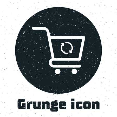 Grunge Refresh shopping cart icon isolated on white background. Online buying concept. Delivery service sign. Update supermarket basket symbol. Vector Illustration