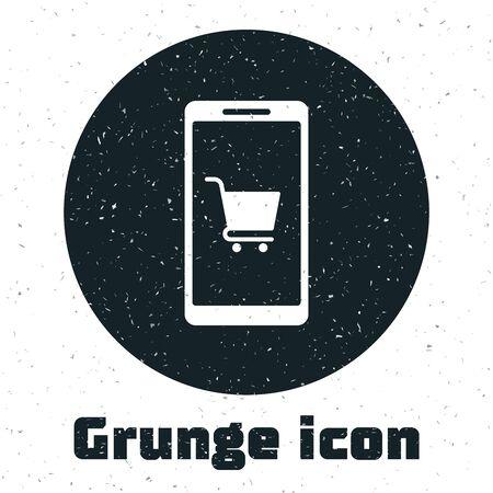 Grunge Mobile phone and shopping cart icon isolated on white background. Online buying symbol. Supermarket basket symbol. Vector Illustration Stock Vector - 130090240