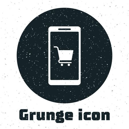 Grunge Mobile phone and shopping cart icon isolated on white background. Online buying symbol. Supermarket basket symbol. Vector Illustration